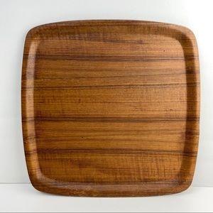 Vintage Retro Square Teak Wood Tray Serving Plate